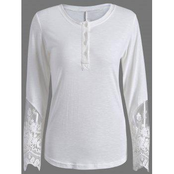 Lace Panel Fitted Long Sleeve T-Shirt