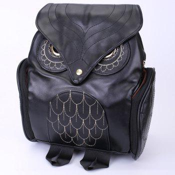 Preppy Owl Pattern and Stitching Design Satchel For Women - BLACK