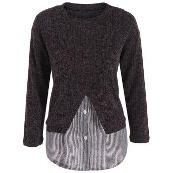 Plus Size Panel Layered Knit Sweater