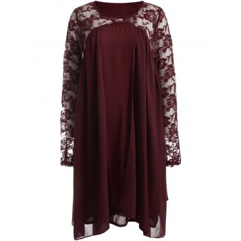 Plus Size Long Sleeve Lace Insert Shift Dress - RED RED