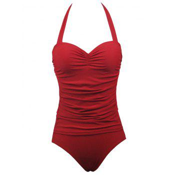 Buy Halter Push Ruched One-Piece Swimwear RED