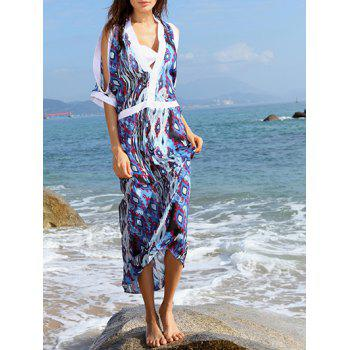 Cold Shoulder Printed Cover Up Dress