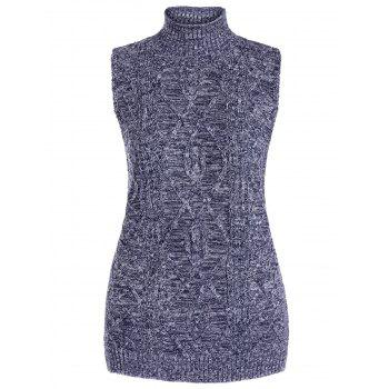 Cable Knit Mock Neck Vest Sweater