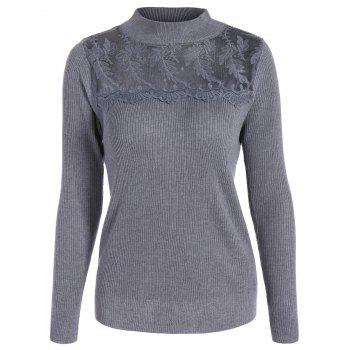 Ribbed Mock Neck Lace Panel Sweater