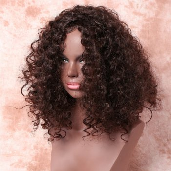 Vogue Dark Brown Medium Synthetic Fluffy Kinky Curly Capless Wig For Women - DEEP BROWN