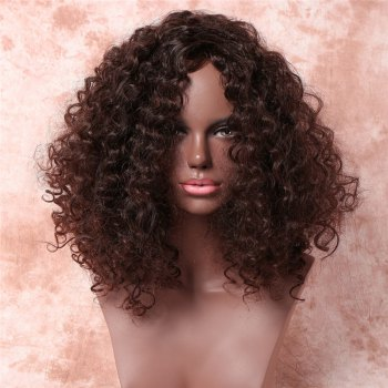 Vogue Dark Brown Medium Synthetic Fluffy Kinky Curly Capless Wig For Women