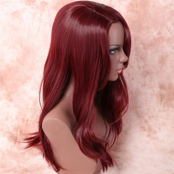 Women's Stylish Synthetic Side Bang Long Wig - WINE RED