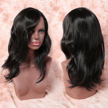 Shaggy Wave Long Synthetic Vogue Black Side Bang Capless Adiors Wig For Women - BLACK BLACK