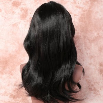 Shaggy Wave Long Synthetic Vogue Black Side Bang Capless Adiors Wig For Women -  BLACK