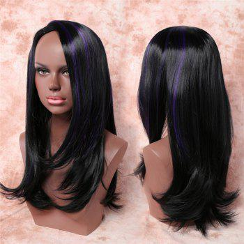 Stunning Light Brown Mixed Black Synthetic Fluffy Curly Side Bang Long Adiors Wig For Women