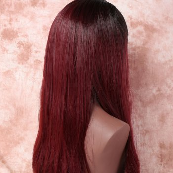 Attractive Silky Straight Side Parting Nobby Long Black Mixed Wine Red Women's Synthetic Adiors Wig -  COLORMIX