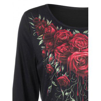 3d Rose Paint Drip Tee - BLACK XL