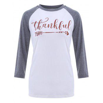 Crew Neck Thankful Graphic Baseball T-Shirt
