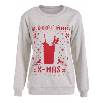 Bloody Mary Christmas Sweatshirt With Reindeer Graphic