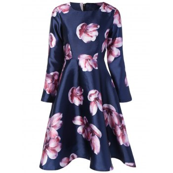 Long Sleeve Floral Print Swing Dress