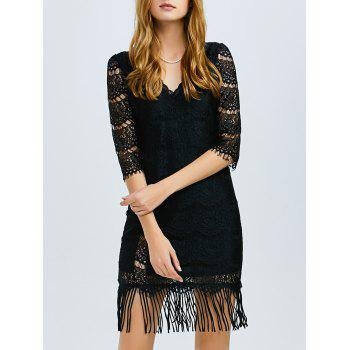 V Neck Lace Fringed Dress
