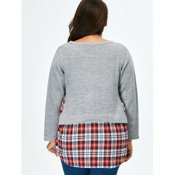 Plus Size Long Sleeve Plaid Insert Sweater - GRAY XL