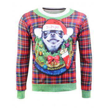 Plaid Crew Neck Christmas Sweatshirt