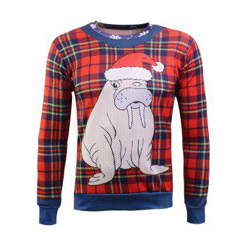 Long Sleeve Plaid Christmas Sweatshirt
