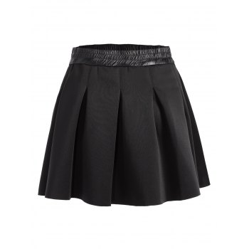 High Waisted Ruched Mini A Line Skirt