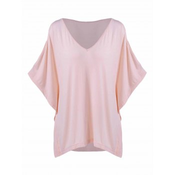 Plus Size Batwing Sleeve Smock T-Shirt