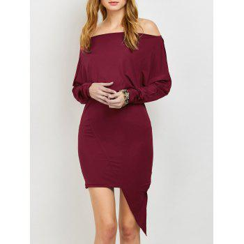 Off The Shoulder Asymmetrical Long Sleeve Dress