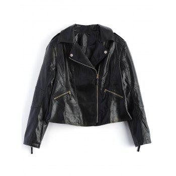 Asymmetrical Cropped Leather Jacket