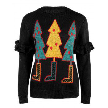 Crew Collar Sweater With Christmas Tree Graphic