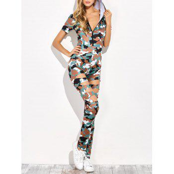 Zip Ripped Camo Hooded Jumpsuit
