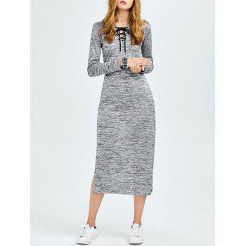 Lace Up Side Cut Hooded Dress