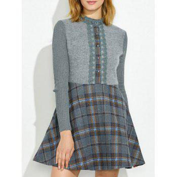 Plaid Insert Knit Fit and Flare Dress