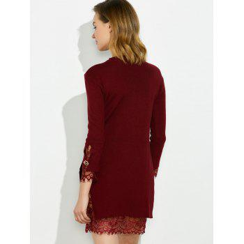 Mock Neck Knitted Layered Sweater Dress With Lace Trim - WINE RED ONE SIZE