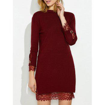 Mock Neck Knitted Layered Sweater Dress With Lace Trim