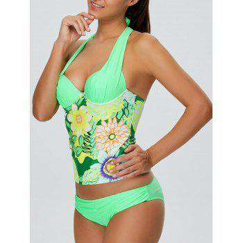 Halter Floral Push Up Padded Underwire Slimming Tankini