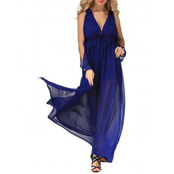 High Slit Low Cut  Maxi Chiffon Dress