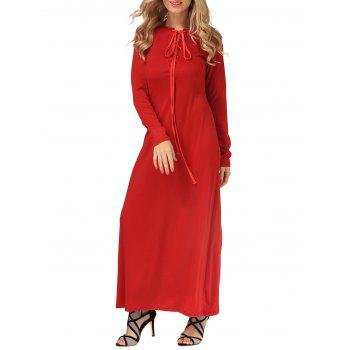 Casual Long Sleeve Maxi Lace-Up Dress