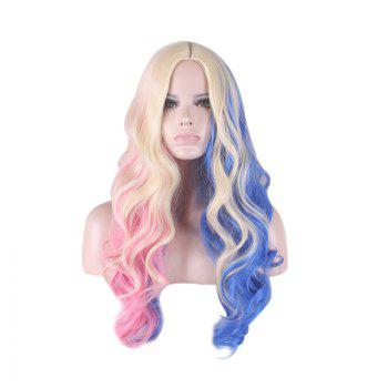 Long Middle Part Colored Wavy Harleen Quinzel Cosplay Synthetic Wig
