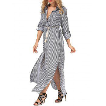Belted Long Sleeve Shirt Maxi Dress