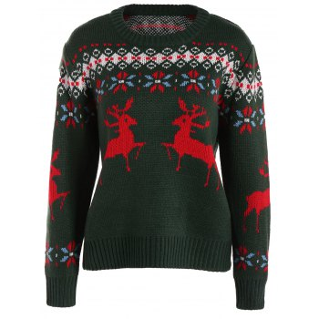 Crew Collar Christmas Sweater With Reindeer Graphic