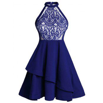 Lace Panel Flounce Mini Skater Cocktail Dress