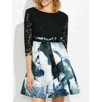 Lace Fit and Flare Dress with Chinese Painting