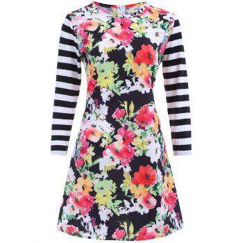 Crew Neck Floral Print Stripe Mini Dress