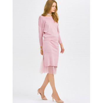 Faux Pearl Knitwear and Midi Fishtail Skirt - ONE SIZE ONE SIZE