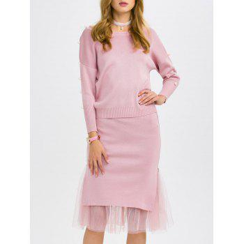 Faux Pearl Knitwear and Midi Fishtail Skirt