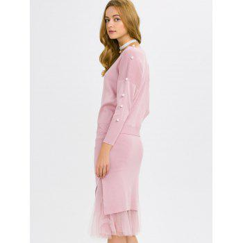 Faux Pearl Knitwear and Midi Fishtail Skirt - PINK PINK