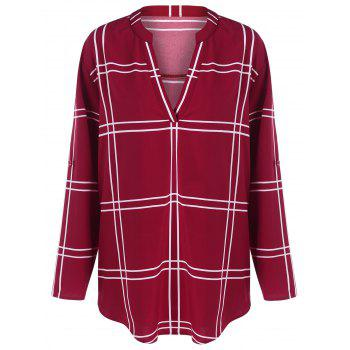Plus Size V Neck Plaid Blouse