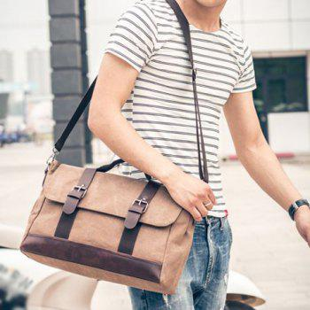 PU Leather Panel Messenger Bag -  COFFEE