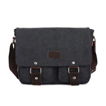 PU Leather Patch Messenger Bag