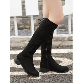 Lace Up Chunky Heel Round Toe Boots - 39 39