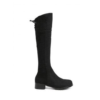 Lace Up Chunky Heel Round Toe Boots - BLACK BLACK